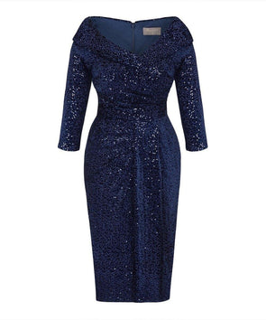 SELLING FAST Limited Edition Arrives w/c 14th Oct Navy Velvet Sequin Edge of the Shoulder Dress