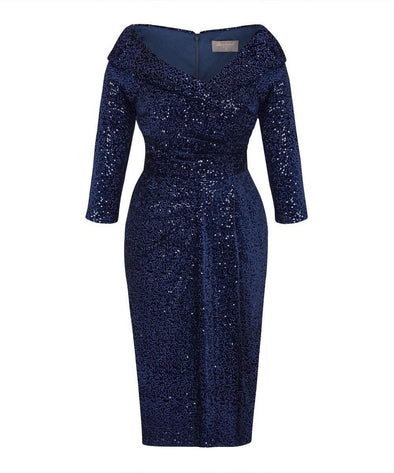 SELLING FAST Limited Edition Navy Velvet Sequin Edge of the Shoulder Dress