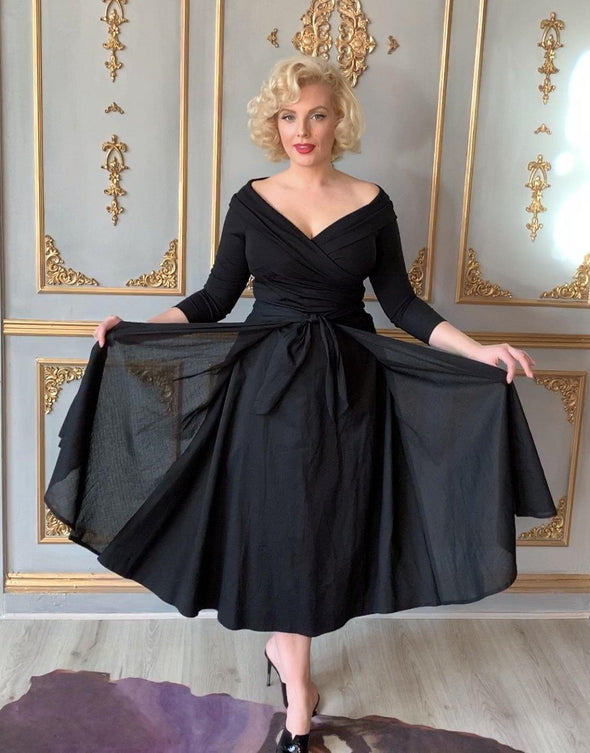 Black Voile Tie Front Grace Skirt