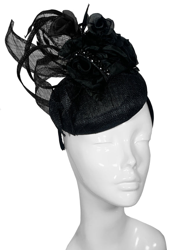 The Bombshell Pillbox Hat Black
