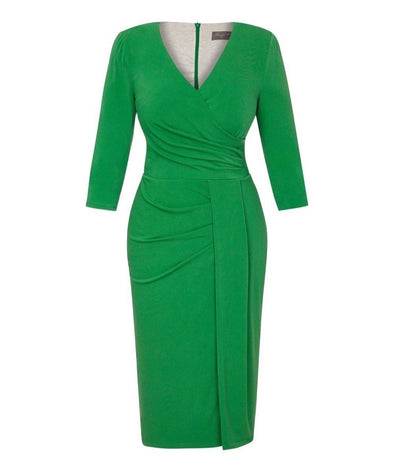 Bright Green Stretch Luxe Bombshell 3/4 Sleeve Jersey Dress | Mother of the Bride Wedding Guest Dress