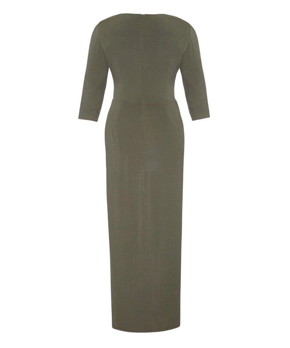Khaki Stretch Luxe Bombshell 3/4 Sleeve Maxi Dress