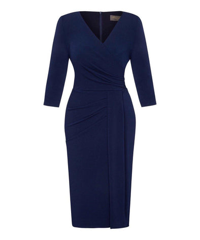 Navy Stretch Luxe Bombshell 3/4 Sleeve Jersey Dress
