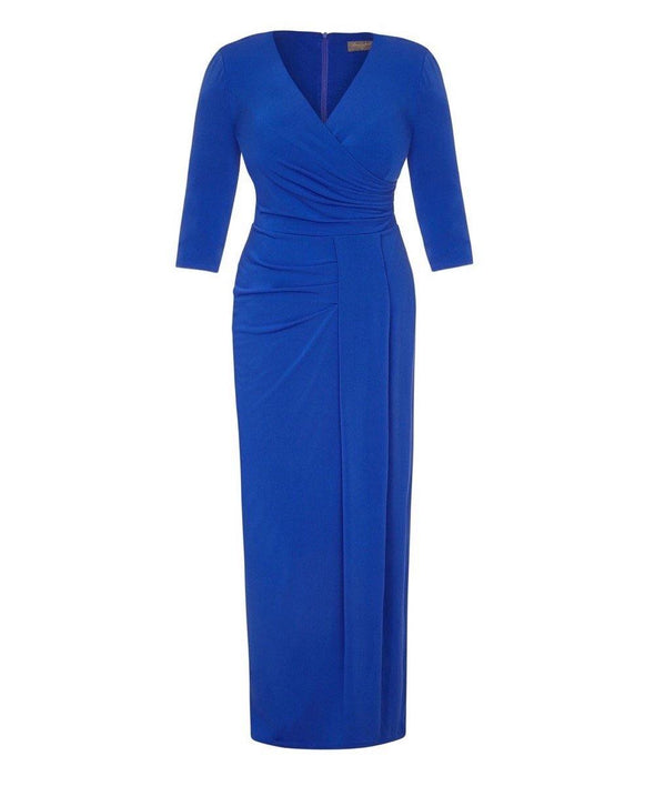 Bright Blue Stretch Luxe Bombshell 3/4 Sleeve Maxi Dress