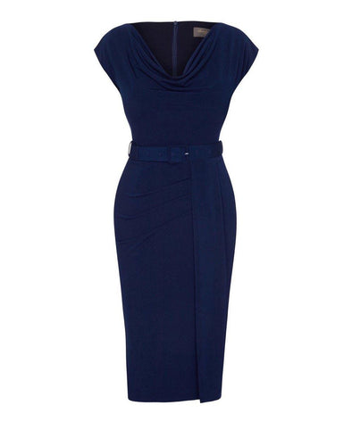 Navy Stretch Luxe Scoop Neck Cap Sleeve Jersey Dress