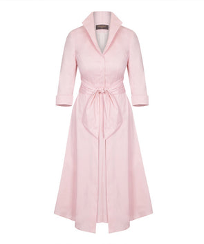 Pale Pink Grace Tie Front Shirt Dress