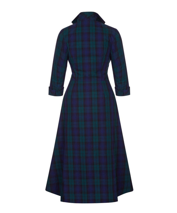 BACK IN STOCK Tartan Grace Tie Front Shirt Dress Black Watch