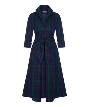NEW ARRIVAL! Tartan Grace Tie Front Shirt Dress Black Watch Mother of the Bride Wedding Guest Dress