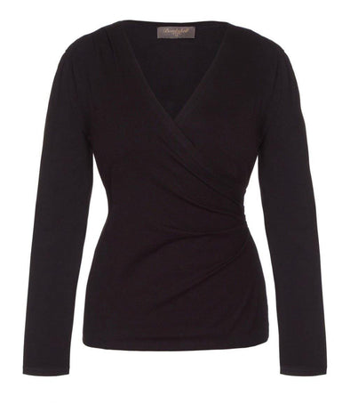 Black Bombshell Luxury Jersey Wrap Top