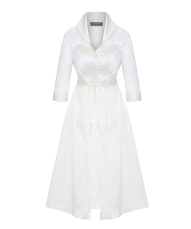 Silk Chiffon and Mat Satin Grace Tie Front Shirt Dress in Ivory Mother of the Bride Wedding Guest Dress