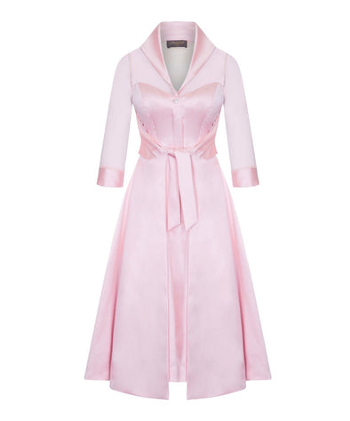 Silk Chiffon and Mat Satin Grace Tie Front Shirt Dress in Pale Pink Mother of the Bride Wedding Guest Dress