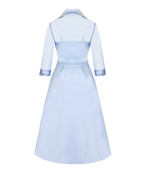 Pale Blue Silk Chiffon & Matt Satin Bombshell 'Grace' Tie Front Shirt Dress