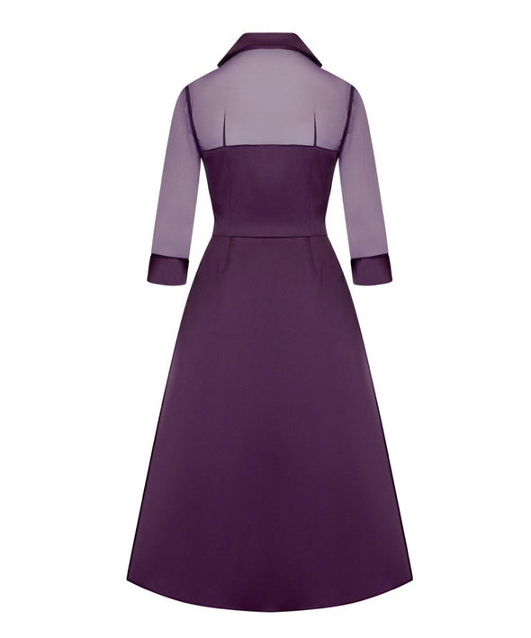 Silk Chiffon and Mat Satin Grace Tie Front Shirt Dress in Plum