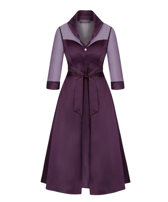 Silk Chiffon and Mat Satin Grace Tie Front Shirt Dress in Plum Mother of the Bride Wedding Guest Dress