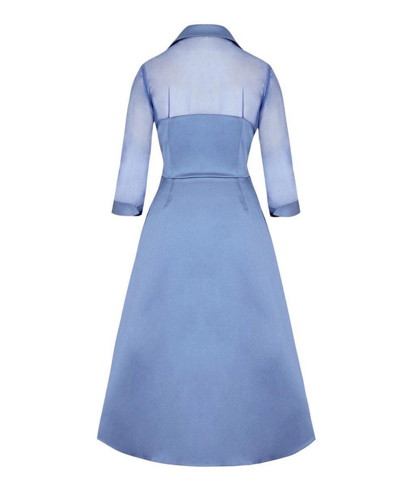 Silk Chiffon and Mat Satin Grace Tie Front Shirt Dress in Heron Blue