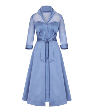 Silk Chiffon and Mat Satin Grace Tie Front Shirt Dress in Heron Blue Mother of the Bride Wedding Guest Dress