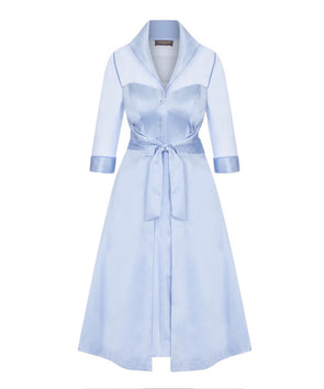 Silk Chiffon and Mat Satin Grace Tie Front Shirt Dress in Pale Blue Mother of the Bride Wedding Guest Dress