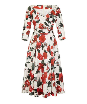 NOW IN Edge of the Shoulder Midi Bombshell Dress in Cotswolds Roses Print