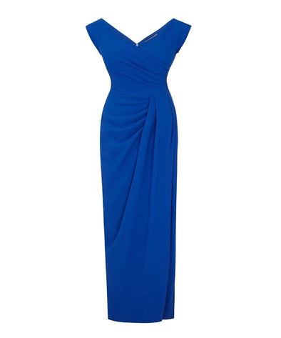 Bight Blue Bombshell Evening Gown with a Cap Sleeve | Mother of the Bride Wedding Guest Dress