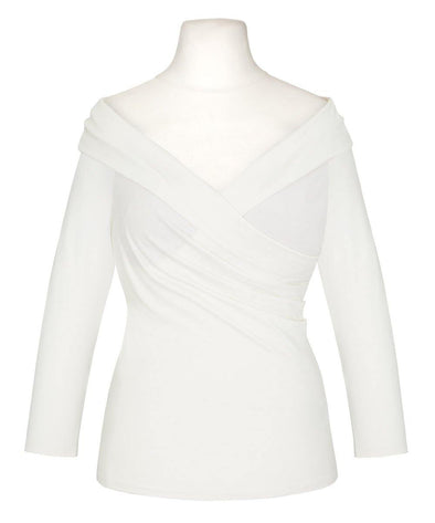 NOW IN Ivory Edge of the Shoulder Bombshell Luxury Jersey Wrap Top