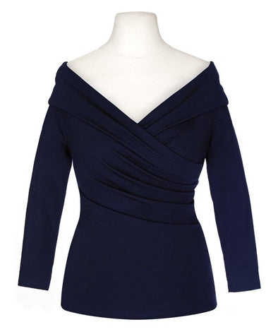 NOW IN Navy Edge of the Shoulder Bombshell Luxury Jersey Wrap Top