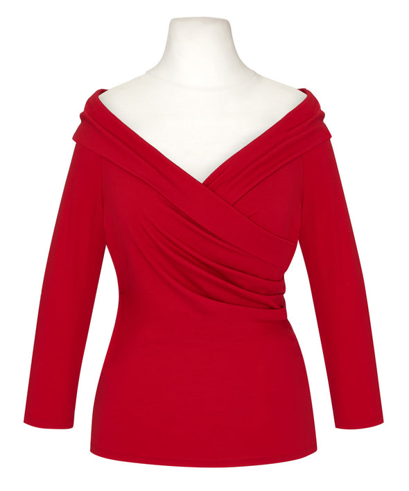 Red Edge of the Shoulder Bombshell Luxury Jersey Wrap Top