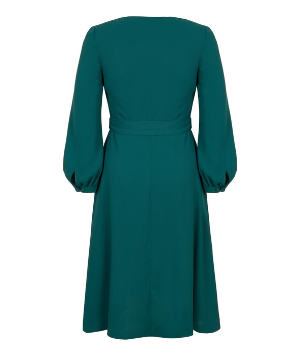 Bell Sleeve Wrap Dress in Emerald Green Crepe