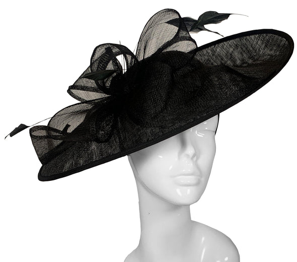 Bombshell Saucer Black wedding Hat