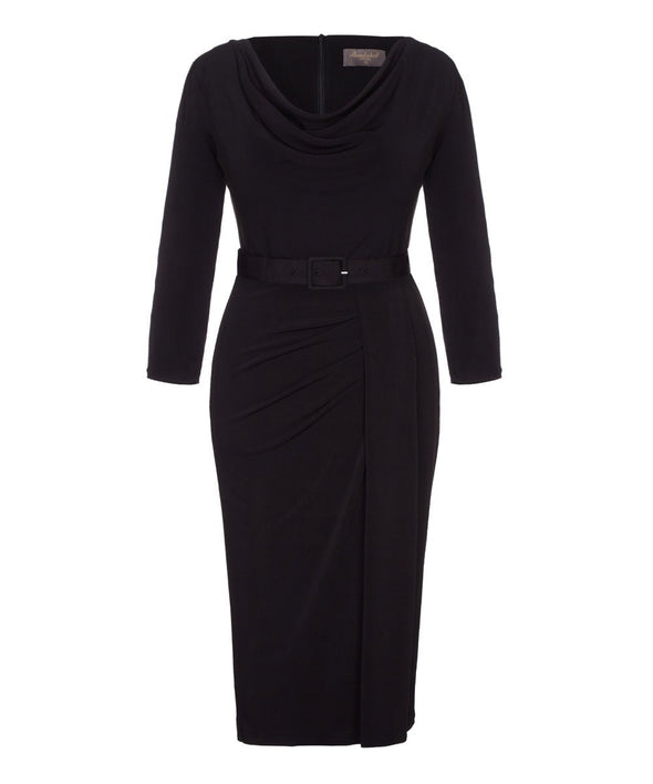 'Stretch Luxe' Scoop Neck Bombshell 3/4 Sleeve Jersey Dress Black