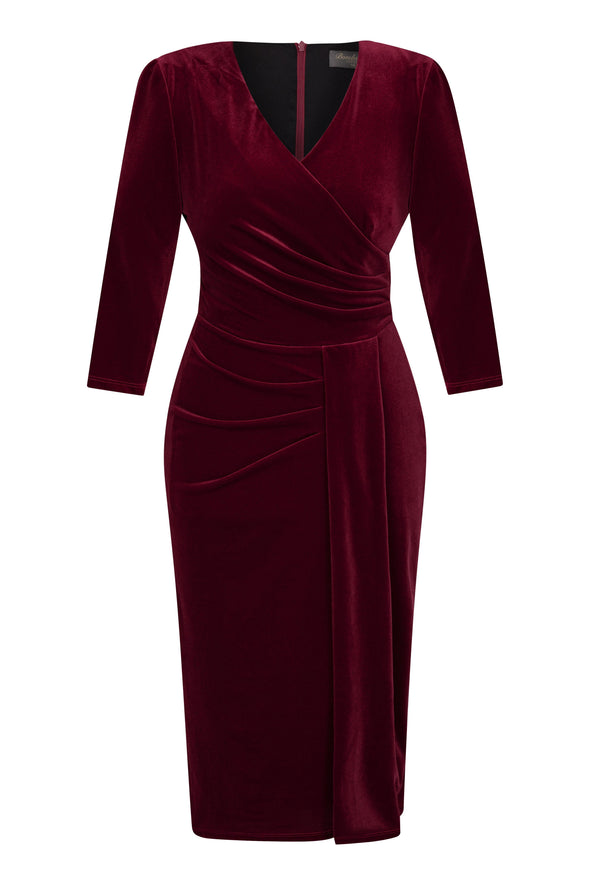 Dark Red Velvet Jersey Bombshell 3/4 Sleeve 'Stretch Luxe' Dress