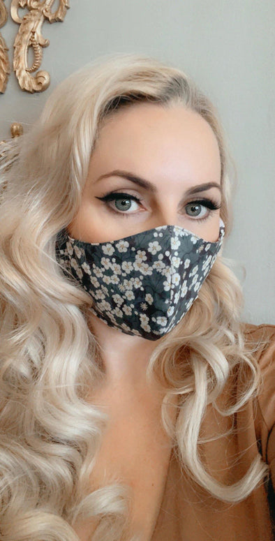 Bombshell Facemask With Filter Pocket Made in Steel Blue / Grey Mitsi Liberty Tana Lawn print