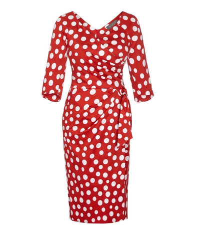 'Red Polka Dot' Bombshell 3/4 Sleeve Confident Dress