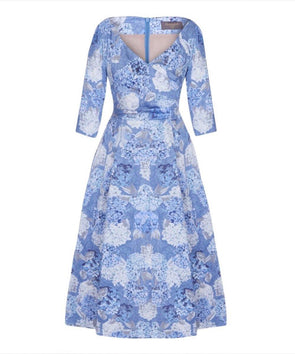 Edge of the Shoulder Midi Bombshell Dress in Hydrangea Print Mother of the Bride Wedding Guest Dress
