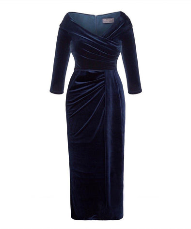 NEW NEW NEW Navy Velvet Edge of the Shoulder Evening Gown