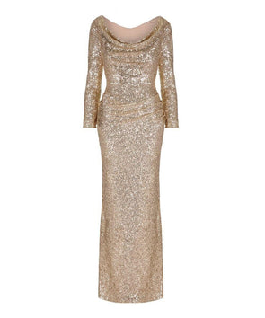 3fc27ca8abb81 Hollywood Gold Sequin Evening Gown Wedding Summer Ball Christmas Party  Winter Black Tie