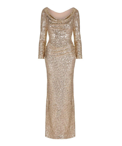 Hollywood Gold Sequin Evening Gown Wedding Summer Ball Christmas Party Winter Black Tie