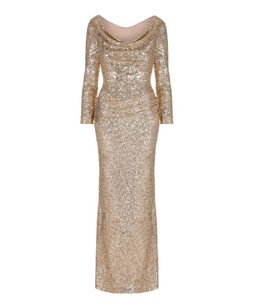 10th Anniversary Gold Sequin Bombshell Gown