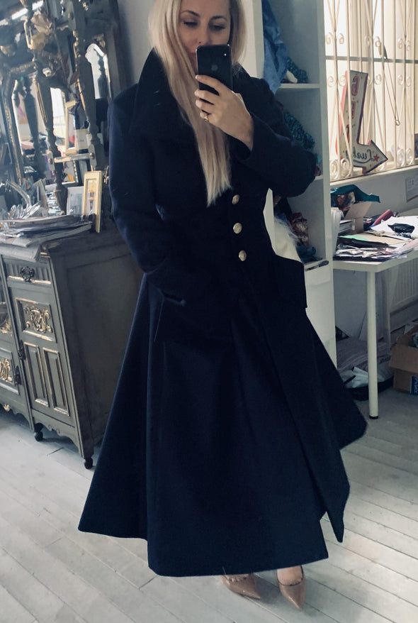 Midnight Melton Wool Bombshell 'Amazing' Coat