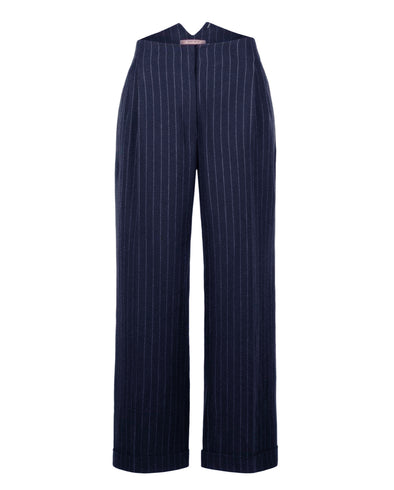 Wide Leg Trousers in Navy Pinstripe Front