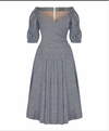 Puff Sleeve Bombshell Dress in Blue linen