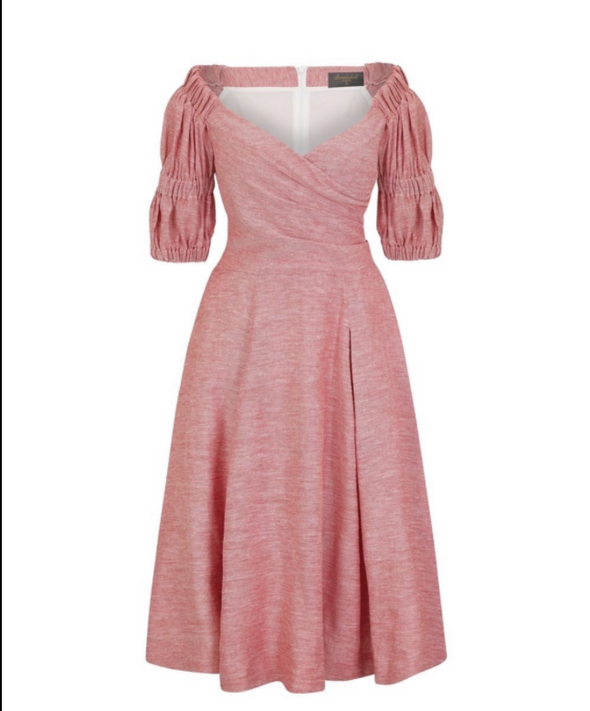 Puff Sleeve Bombshell Dress in Red/Pink Linen