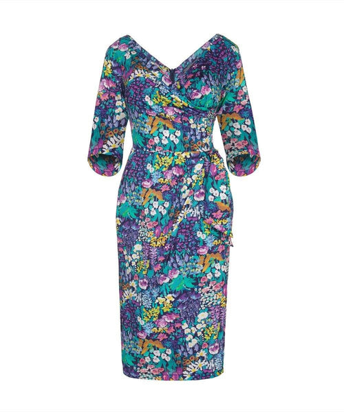 3/4 Sleeve Bombshell Dress in Liberty Painters Meadow