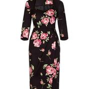 Bombshell dress Bombshell London Pink Black Roses Wedding Evening Event Cocktail Floral