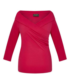 NOW IN Bright Pink Edge of the Shoulder Bombshell Luxury Jersey Wrap Top