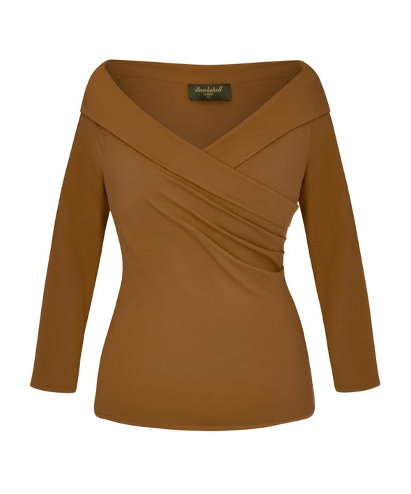 NOW IN Tan Edge of the Shoulder Bombshell Luxury Jersey Wrap Top