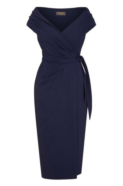 'The Feel Good' Edge of the Shoulder Navy Bombshell Luxury Jersey Wrap Dress with Cap Sleeves