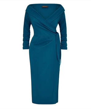 NOW IN 'The Feel Good' Edge of the Shoulder Teal Bombshell Luxury Jersey Wrap Dress with 3/4 Sleeves