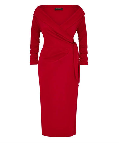 'The Feel Good' Edge of the Shoulder Red Bombshell Luxury Jersey Wrap Dress with 3/4 Sleeves