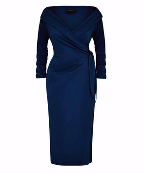 'The Feel Good' Edge of the Shoulder Navy Bombshell Luxury Jersey Wrap Dress with 3/4 Sleeves