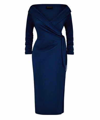ARRIVING 23rd MARCH 'The Feel Good' Edge of the Shoulder Navy Bombshell Luxury Jersey Wrap Dress with 3/4 Sleeves